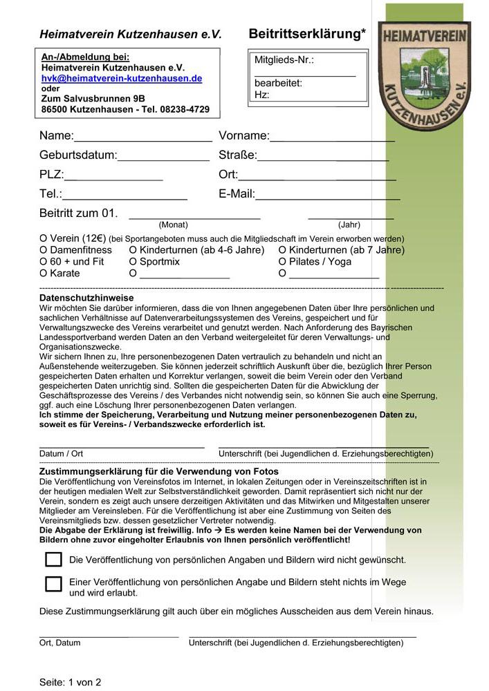 Beitrittserklärung Seite 1