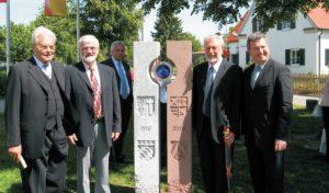 von links: Altbürgermeister Robert Maly, Armand Braconnier, Maire Edmond Fabacher, Europa-Abgeordeter MdEP Markus Ferber