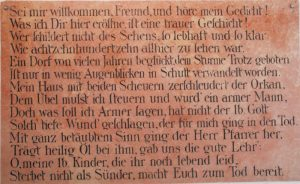 Zur Erinnerung an jenes schreckliche Ereignis befindet sich beim Widenbauer (Hsnr.35) im Hauseingangsbereich eine Gedenktafel.