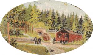 Motiv des Bierkellers auf der ältesten bekannten Postkarte von Kutzenhausen