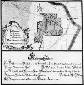 """Kutzenhausen um 1750 - Ortsplan aus """"Johann Lambert Kolleffel, Schwäbische Städte und Dörfer"""""""