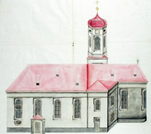 """Einer der Entwürfe des """"Hofmaurermeisters"""" Ignatz Paulus aus Augsburg für die Pfarrkirche Kutzenhausen."""